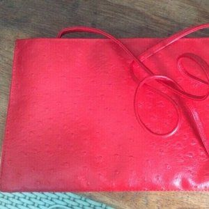 Vintage Bueno Faux Ostrich Leather Cluch Purse RED